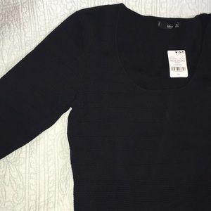MNG Black line pattern dress